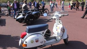 Parade of vintage cars and motorcycles stock video footage