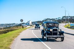 Parade of vintage cars, Punta del Este, Uruguay Stock Images