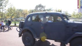 Parade of vintage cars stock footage