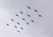 Parade von Flugzeugen Stockfotografie