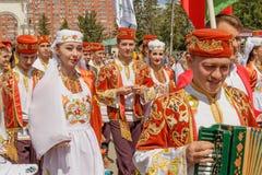 Parade von Gästen von Baschkirien in den nationalen Kostümen stockfoto