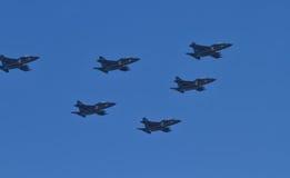 Parade von Militärluftfahrtmilitärraumkräften von Russland Stockbild