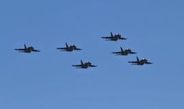 Parade von Militärluftfahrtmilitärraumkräften von Russland Stockfotos