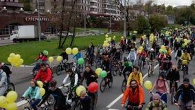 Parade von Radfahrern, Fahrradreiter stock video footage