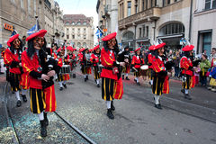Parade, Waggis, Carnaval in Bazel, Zwitserland Stock Fotografie