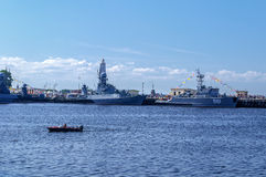 The parade of warships in Kronstadt Stock Photos