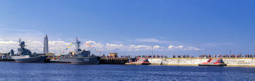 The parade of warships in Kronstadt Royalty Free Stock Image