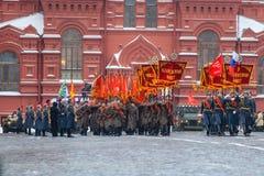 Parade weihte 7. November 1941 auf Rotem Platz in Moskau ein 75. Jahrestag Stockfotografie