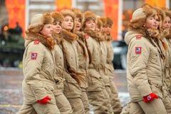 Parade weihte 7. November 1941 auf Rotem Platz in Moskau ein 75. Jahrestag Lizenzfreies Stockbild