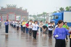 Parade of women outdoors