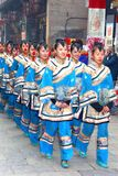 Parade of women in silk costumes, Pingyao, China Royalty Free Stock Photo