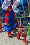 Parade of young Ukrainians in traditional costume Royalty Free Stock Images