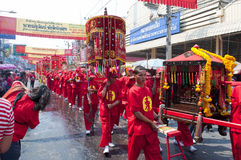 Paradedorfbewohner mit chinesischer traditioneller Uniform Stockfoto