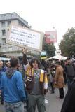 Paradeplatz de Zurique, protesto da matriz para os excessos o Imagens de Stock