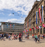 Paradeplatz square in Zurich on the Street Parade day Royalty Free Stock Photo