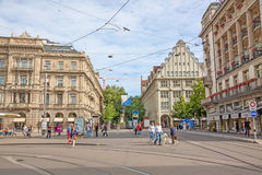 Paradeplatz Zurich, vue vers Bahnhofstrasse photo libre de droits