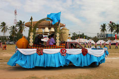 Paraders in local sports festival season. BORABUE, MAHASARAKHAM - DECEMBER 22 : The unidentified paraders are in local sports parade grand opening and festival stock photos