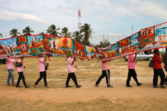 Paraders in local sports festival season. BORABUE, MAHASARAKHAM - DECEMBER 22 : The unidentified paraders are in local sports parade grand opening and festival stock photography