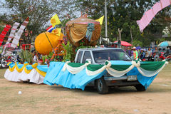 Paraders in local sports festival season. BORABUE, MAHASARAKHAM - DECEMBER 22 : The unidentified paraders are in local sports parade grand opening and festival royalty free stock photos