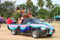Paraders in local sports festival season. BORABUE, MAHASARAKHAM - DECEMBER 22 : The unidentified paraders are in local sports parade grand opening and festival stock images