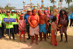 Paraders in local sports festival season. BORABUE, MAHASARAKHAM - DECEMBER 22 : The unidentified paraders are in local sports parade grand opening and festival royalty free stock images