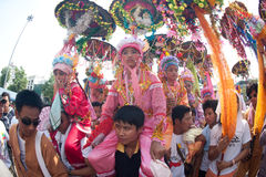 Parades of Poy-Sang-Long Festival in Northern of Thailand. royalty free stock photography