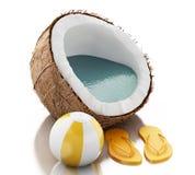 Paradies der Kokosnuss 3d auf weißem Hintergrund Stockfoto
