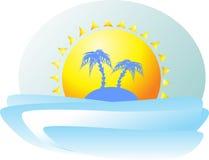 Paradies-Insel mit zwei Palmen im Hintergrund der Umarmung Lizenzfreie Stockfotografie