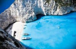 Paradies Navagio Schacht und Strand. Zakynthos, Griechenland stockfotografie