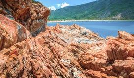 Paradies von Felsen auf dem Strand stockbilder