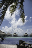 Paradiese Resort View. A view from the bar area of Ellaidhoo Island to the waterhuts and pool section Stock Images