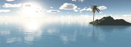 Paradiesinsel mit Palme Stockfotografie