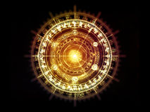 Paradigm of Sacred Geometry. Orbits of Destiny series. Composition of sacred symbols, signs, geometry and designs on the subject of astrology, alchemy, magic Stock Photo