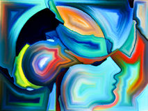 Paradigm of Sacred Hues. Angels Choice series. Composition of human profiles and colorful shapes on the subject of inner world, sacred reality, emotion, human royalty free illustration