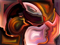Paradigm of Sacred Hues. Angels Choice series. Composition of human profiles and colorful shapes on the subject of inner world, sacred reality, emotion, human stock illustration