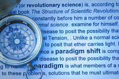 Paradigm shift concept. With compass and print Stock Images