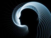 Paradigm of Soul Geometry. Geometry of Soul series. Arrangement of profile lines of human head on the subject of education, science, technology and graphic Royalty Free Stock Photography