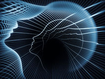 Paradigm of Soul Geometry. Geometry of Soul series. Arrangement of profile lines of human head on the subject of education, science, technology and graphic Stock Photo