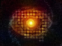 Paradigm of Visual Information. Eye of Knowledge series. Abstract design made of eye icon, number formula and light burst on the subject of  science, education Royalty Free Stock Photo