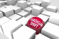 Paradigmförskjutning Major Change Disruption Cubes Sphere 3d Illustrat Arkivbilder