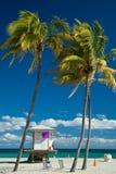 De cabine van de badmeester op het strand van Miami Royalty-vrije Stock Fotografie