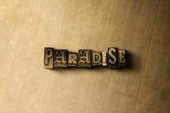 PARADIJS - close-up van grungy wijnoogst gezet woord op metaalachtergrond vector illustratie