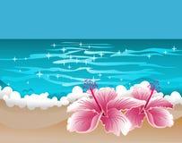 Paradijsachtergrond met hibiscus en zoete oceaan royalty-vrije illustratie