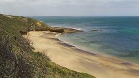Paradijselijk strand in Torquay, Australië, omhoog geschoten voetstuk stock video
