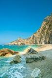 Paradijsstrand dichtbij Liapades, Westelijk van het Eiland van Korfu, Griekenland Royalty-vrije Stock Afbeelding