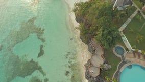 Paradijsstrand en mooie pool filippijnen Lucht Mening stock video