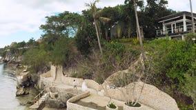 Paradijsstrand en mooie pool filippijnen Lucht Mening stock footage