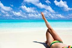Paradijsvakantie op een tropisch strand Stock Afbeelding