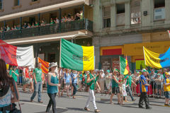 Parading Brisbane streets on St Paddy's Day Royalty Free Stock Photo