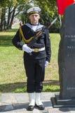 Parading navy seaman Royalty Free Stock Image